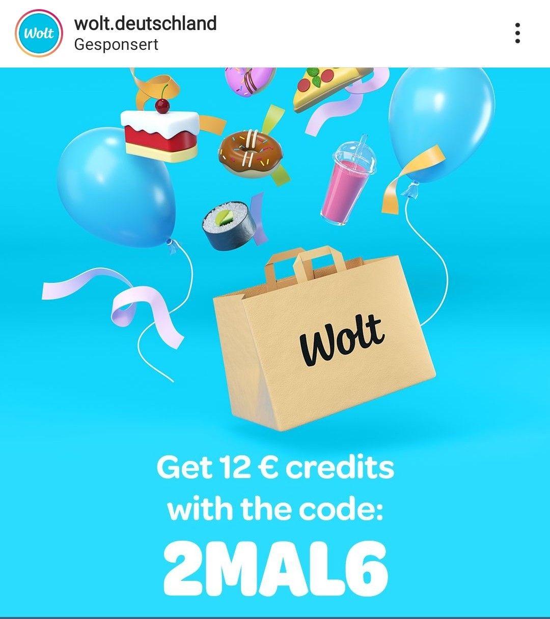 Wolt - 6 Euro Coupon für die ersten beiden Bestellungen