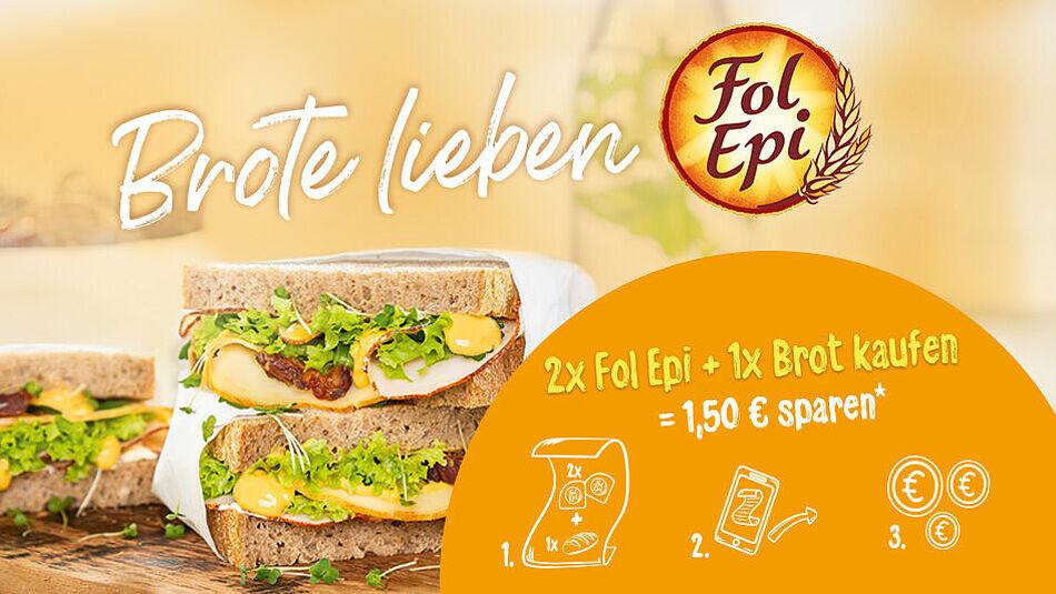 1,50€ Cashback beim Kauf von 2 Fol Epi Käse + einem Brot eurer Wahl