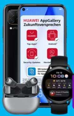 O2 Netz: Huawei P40 lite 6/128GB + Watch 3 + 90€ Cashback im Blau Allnet Plus 15GB LTE