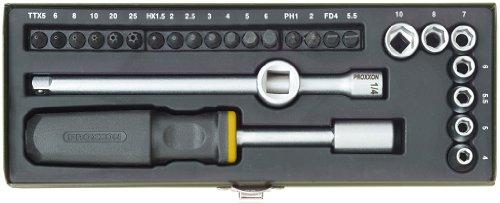 23072 Proxxon Kompakt-Schraubersatz 1/4 Zoll - 28 Teile - für Umschaltknarre