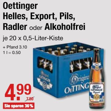 Original Oettinger Bier, versch. Sorten, je 20 x 0,5 l Fl. für 4,99 € (zzgl. Pfand) @ V-Märkte München/Oberbayern ab 19.07.