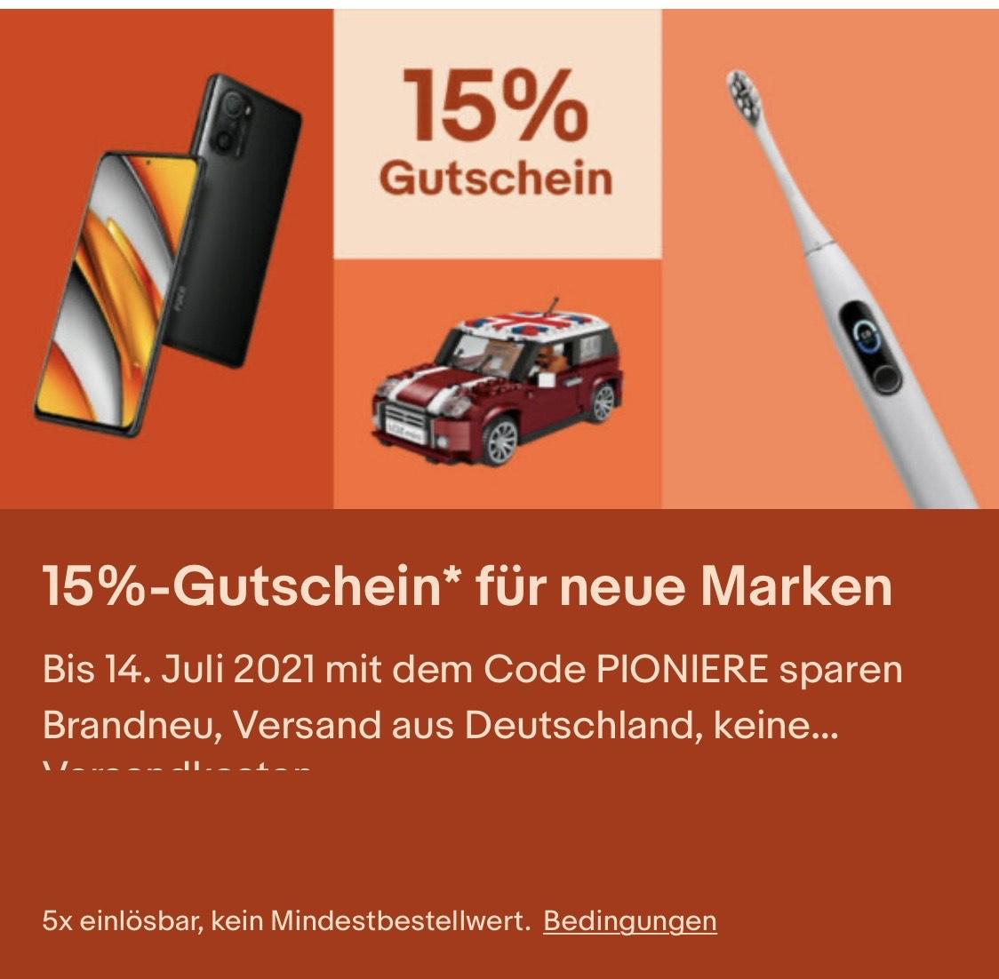 Ebay Aktion 15% für neue Marken