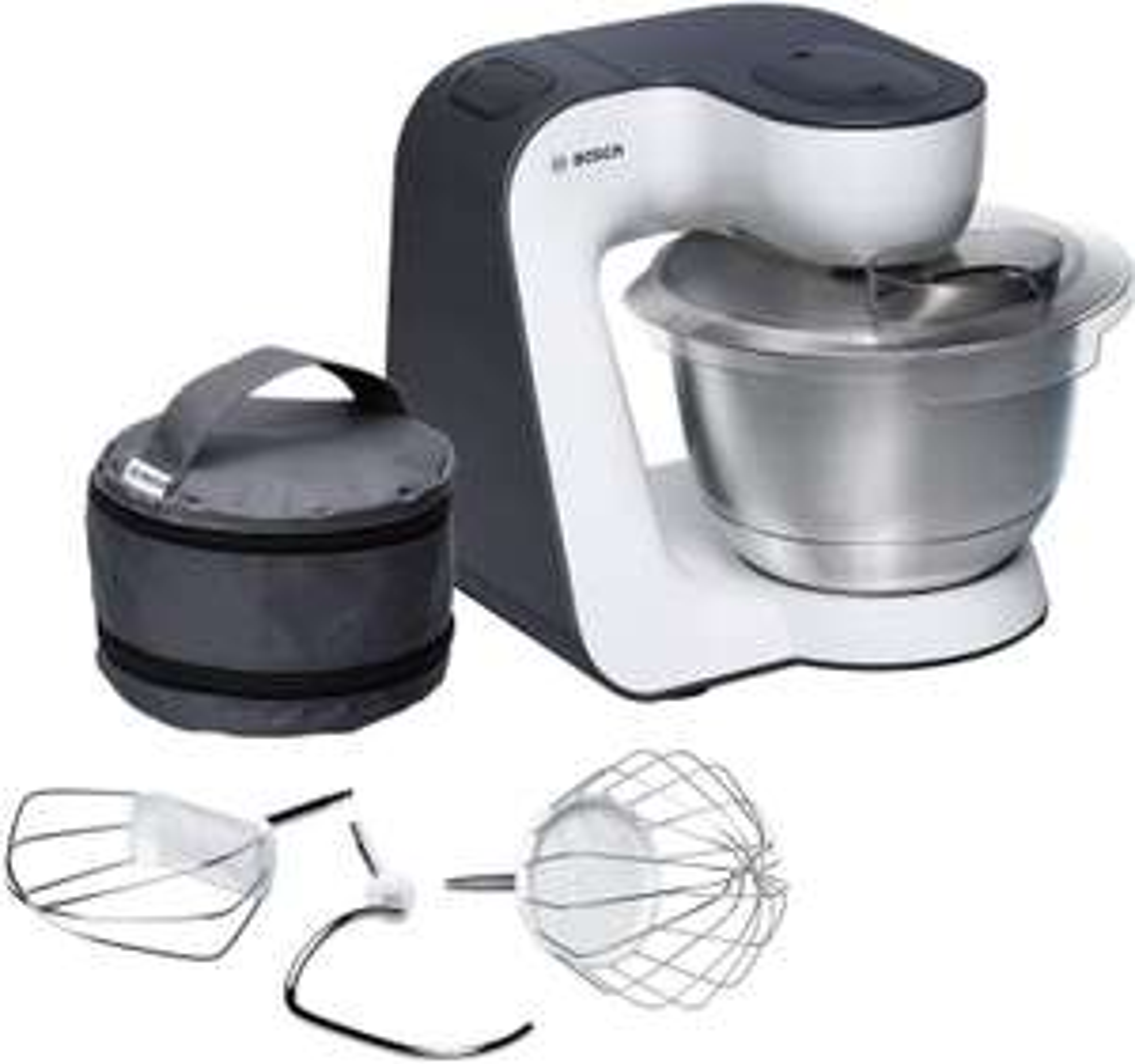 Bosch MUM54A00 Küchenmaschine 900W (Planetenrührwerk, 7 Stufen, inkl. 3,9l Edelstahlschüssel, Rühr- & Schneebesen, Knethaken & Tasche)