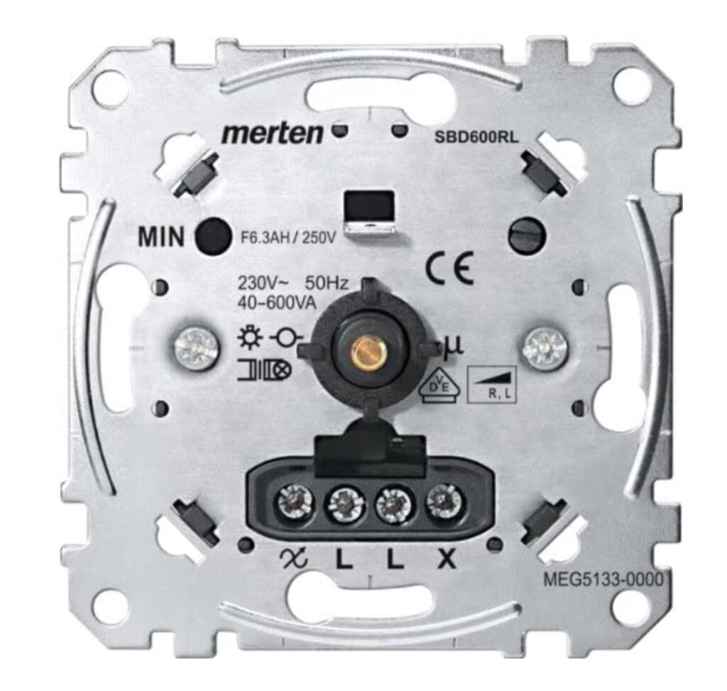 Merten MEG5133-0000 Dimmereinsatz SBD600RL 40-600W ( Phasenanschnitt Dimmereinsatz 40-600VA, Druck-Aus-/Wechselschalter, Memoryfunktion )