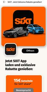 15€ Guthaben bei SIXT share Carsharing (Android only)