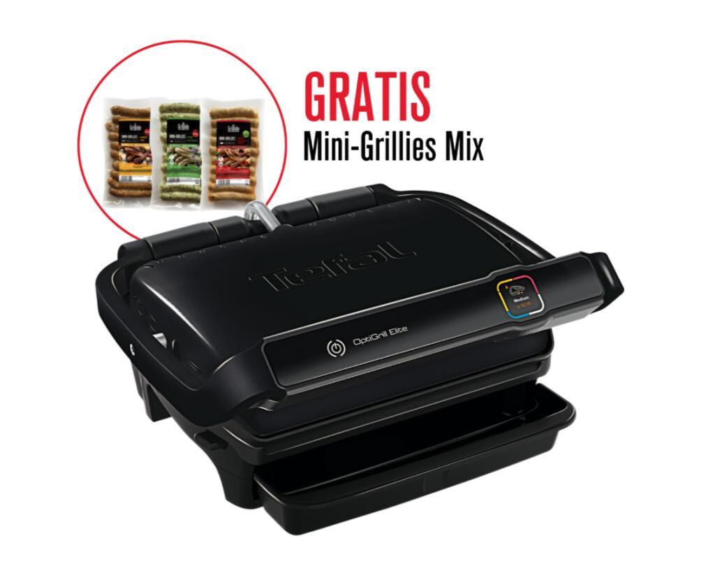 Tefal Optigrill Elite GC7508 + Gratis Mini Grillies Mix ( 12 automatische Programme, Manueller Modus mit 10Grad-Stufen, Grillboost-Funktion)