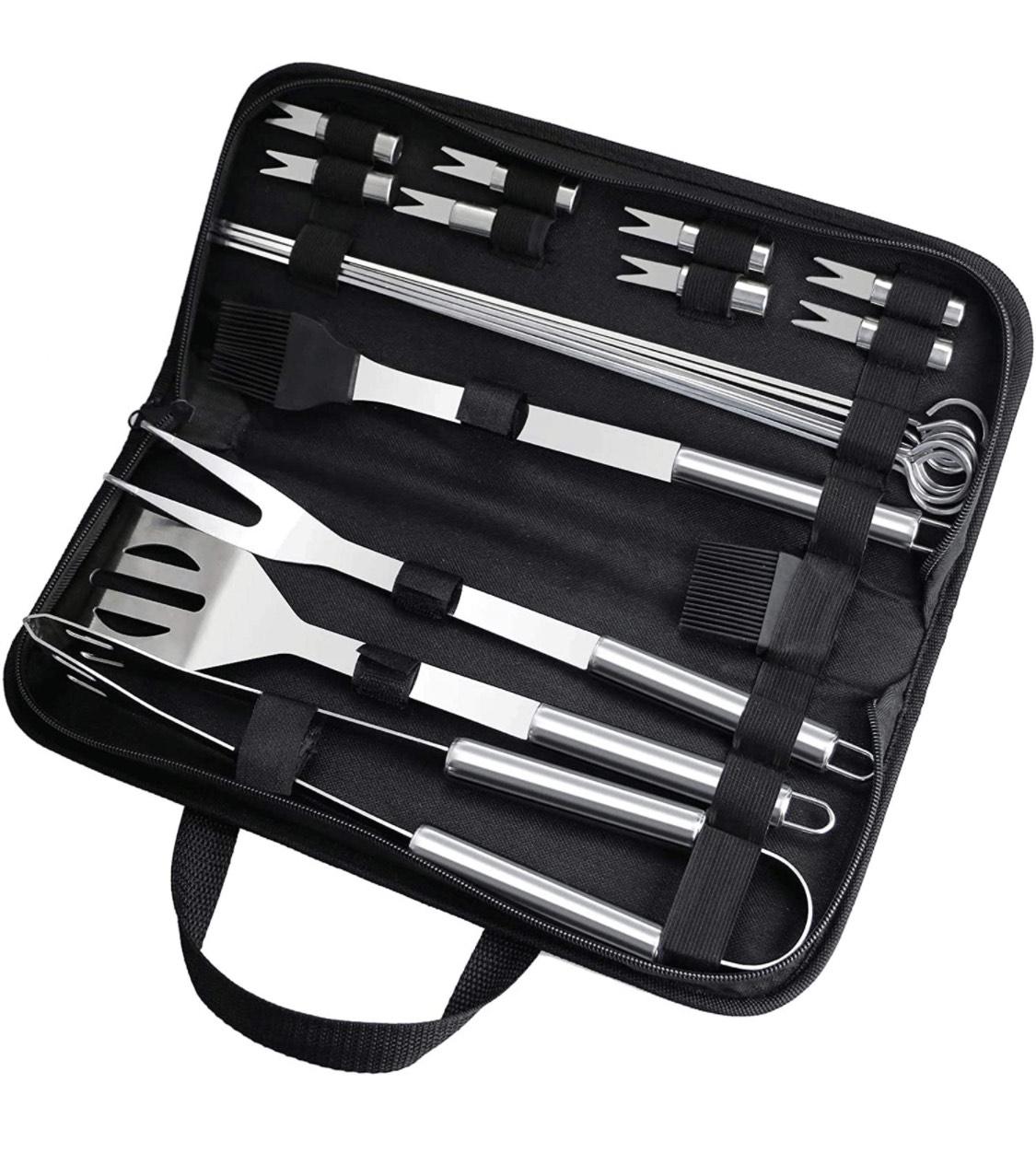Grillbesteck im Koffer Edelstahl Grillzubehör Männer Geschenk Grillset Barbecue Tool Sets mit Grillzange (20 Stück