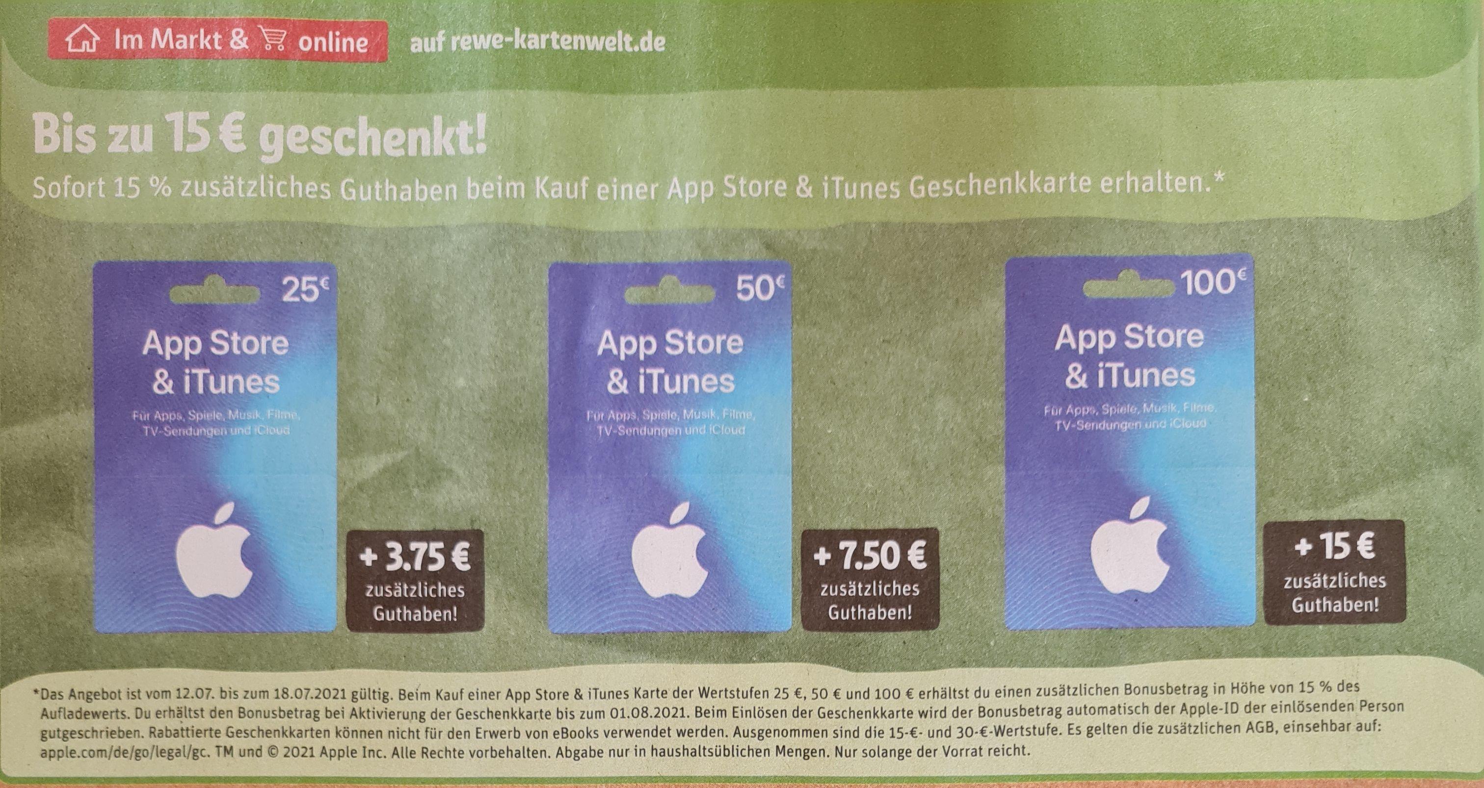 Rewe bis 15 Euro zusätzlich beim Kauf einer App Store & iTunes Geschenkkarte plus weitere Rabatte und Payback °P ab 12.07