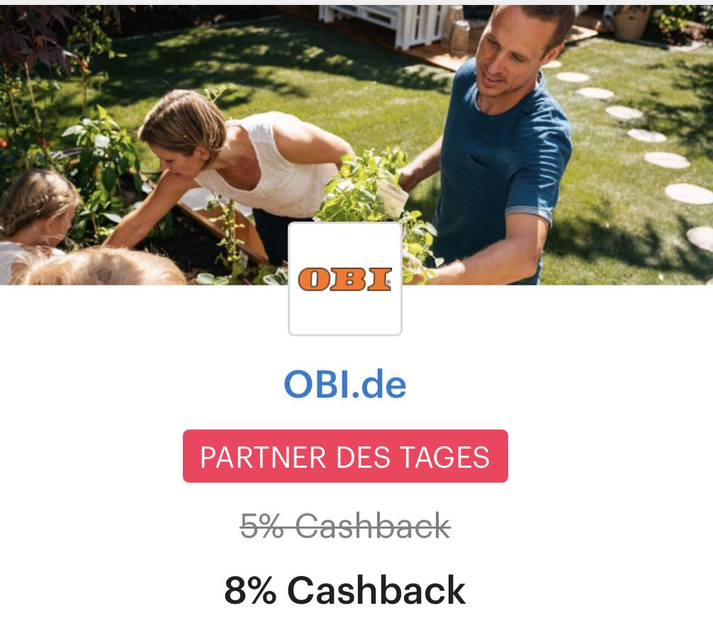 ( Obi & Shoop ) nur heute 8% statt 5% Cashback