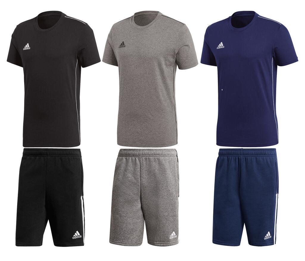 adidas Freizeit Outfit bestehend aus T-Shirt und Shorts (Gr. S - 3XL, 3 verschiedene Farben, Baumwolle)