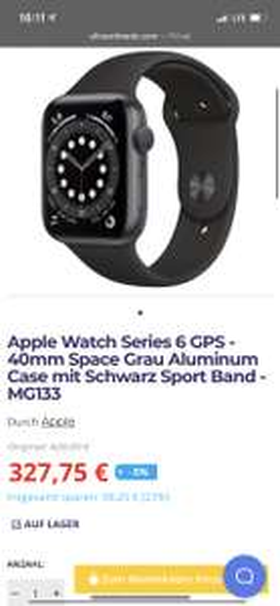 Apple Watch Series 6 GPS - 40mm Space Grau Aluminum Case mit Schwarz Sport Band - MG133