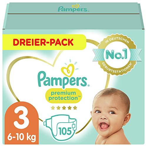 Amazon Sparabo: 2x105 Pampers Baby Windeln Größe 3 (6-10kg) Premium Protection, 105 Stück, Pampers Weichster Komfort Und Schutz