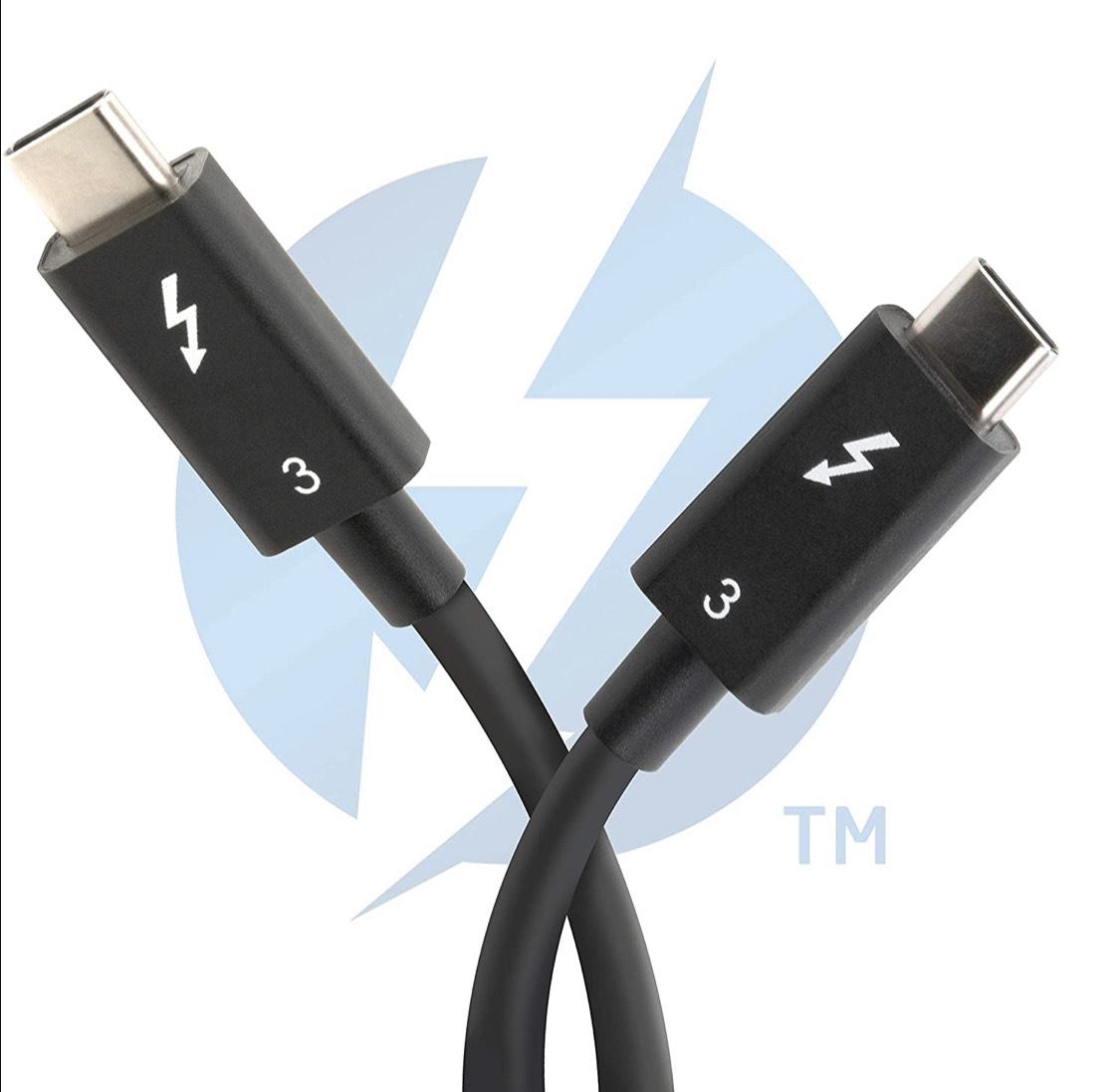 Thunderbolt 3 Kabel 40 Gbps mit bis zu 100 W Ladefähigkeit (80 cm, 5A, USB C kompatibel) [Thunderbolt 3 Zertifiziert]