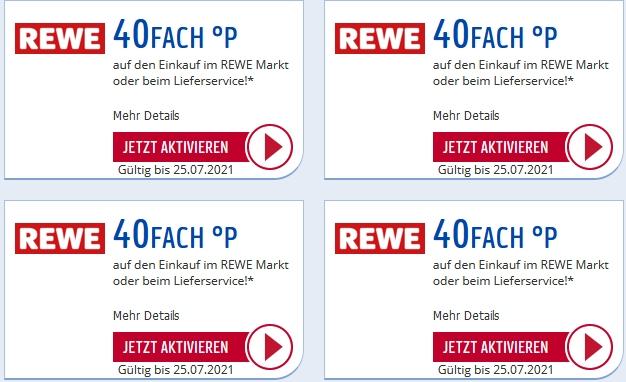 [Payback] 40-fach Punkte bei Rewe auf den gesamten Einkauf ab 2 € (personalisiert) | gültig bis zum 25.07.2021