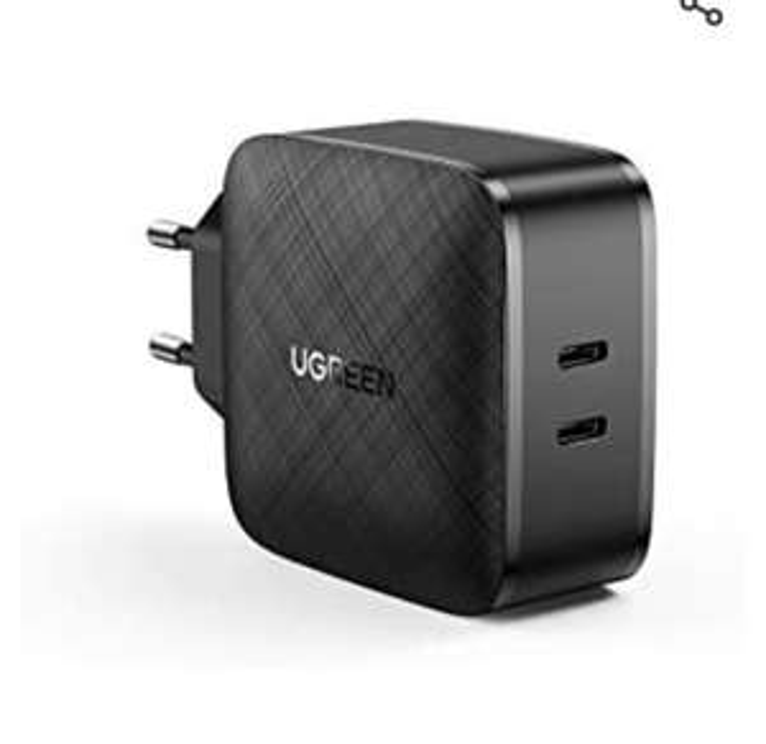 [Amazon Prime] UGREEN USB-C Ladegerät / Netzteil (66W, 2 Ports USB-C Power Adapter, PPS, 1 x 45W und 1 x 20W, PD 3.0, Quick Charge 4.0+)