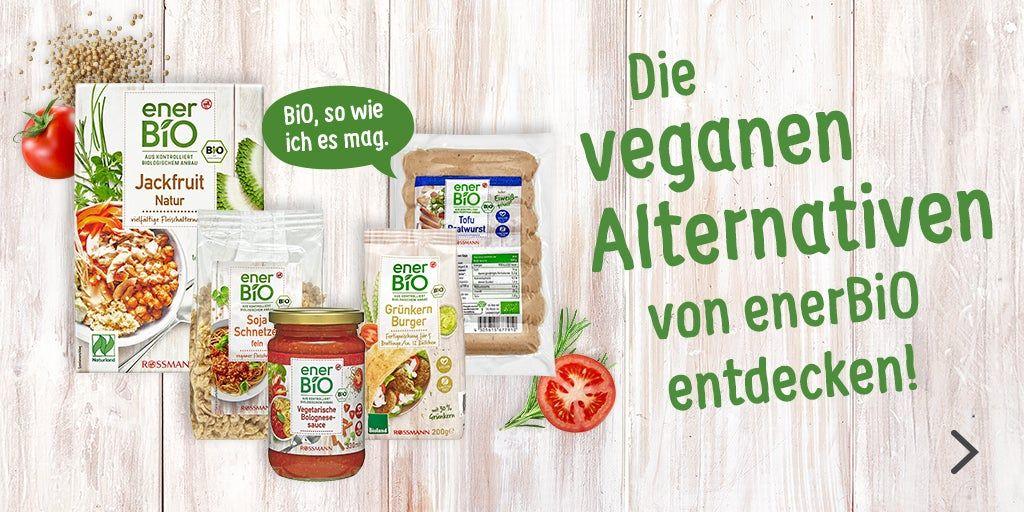 [Rossmann] App-Coupon: 20% auf EnerBio Fleischalternativen (vegan / vegetarisch) bis zum 01.08.   Kombination mit 10% App-Coupon möglich