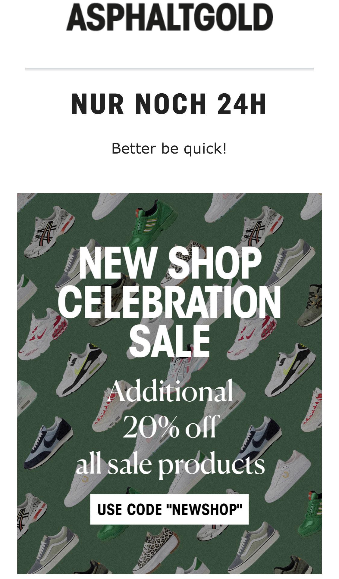 20% auf Sale Produkte - Asphaltgold