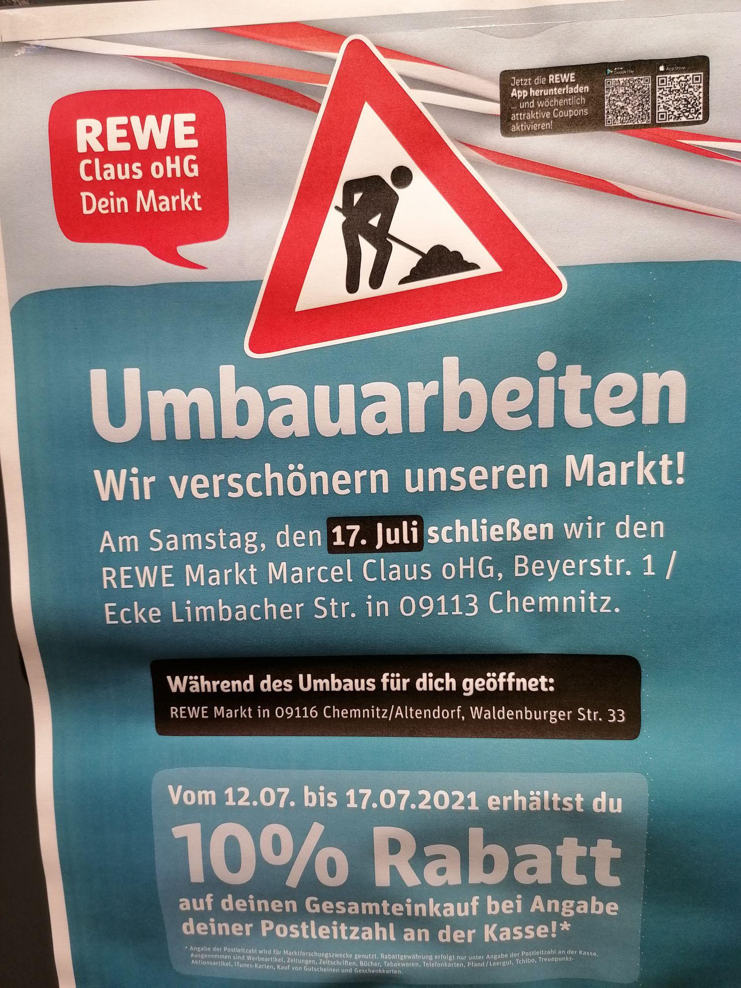 10% Rabatt wegen Renovierung (Lokal Rewe Chemnitz)