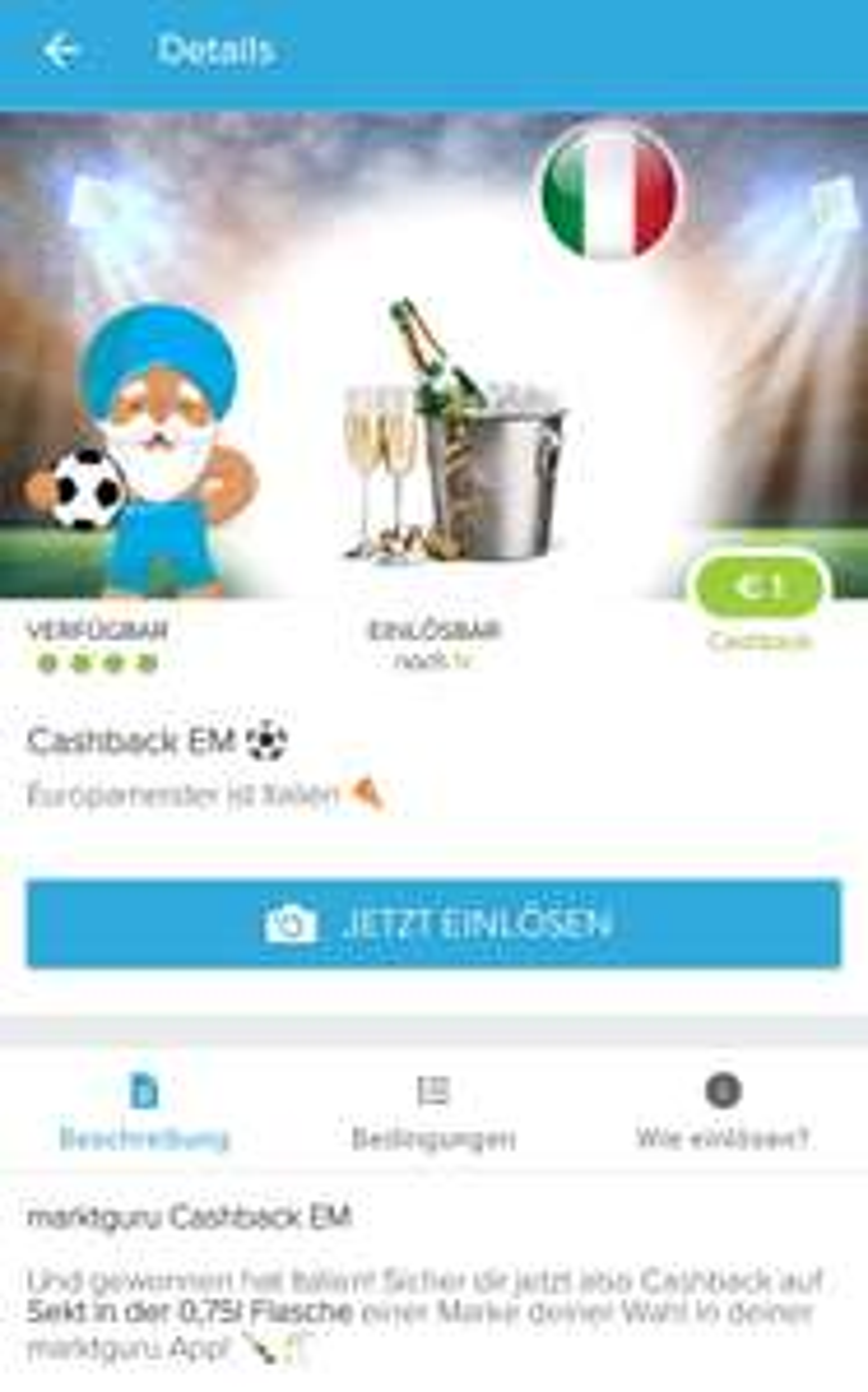[Marktguru] 1€ Cashback beim kauf von einer 0,75l Flasche Sekt