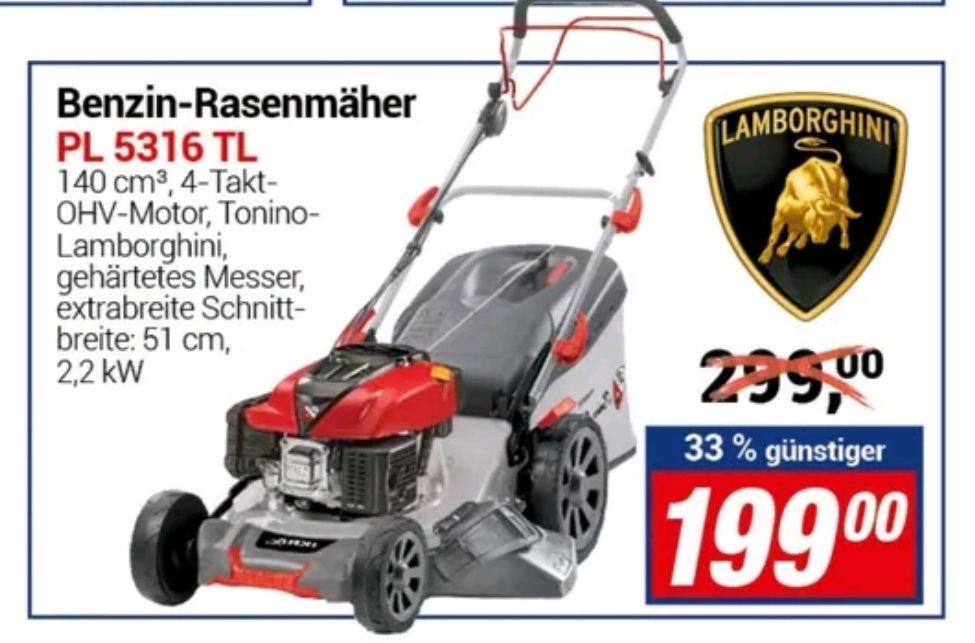 LOKAL CENTERSHOP: Benzin Rasenmäher Tonino Lamborghini Mulchmäher PL 5316 TL 4-Takt-Motor 2,51kW 160m³ Schnittbreite 51cm Radantrieb