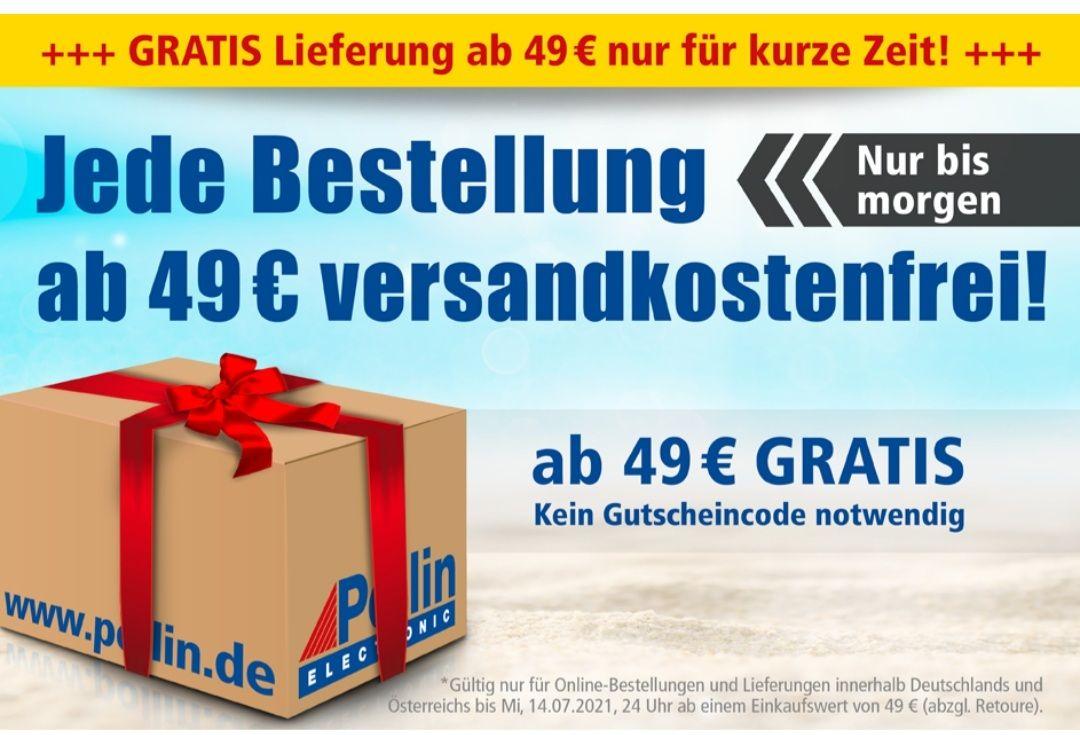 Pollin Gratis Lieferung (-12%) für jede Bestellung ab 49 Euro bis 14.07 um 24 Uhr