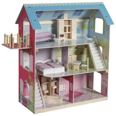 roba Puppenhaus aus Holz - Puppenvilla inkl. 16 Puppenmöbel