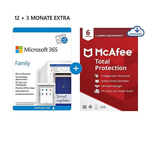 Microsoft 365 Family 12+3 Monate Abonnement | 6 Nutzer | Download Code + McAfee Total Protection 2020 | 6 Geräte | 12 Monate Abonnement