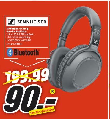 [Regional Mediamarkt/Saturn Mannheim,Wiesbaden und weitere ab 16.07) Sennheiser PXC 550-II Wireless Bluetooth-Kopfhörer - Schwarz für 90,-€
