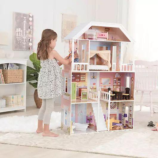 KidKraft Puppenhaus 'Savannah' aus Holz - 124 cm Höhe, inkl. 14 Möbel und Zubehörteile, für 30 cm große Puppen