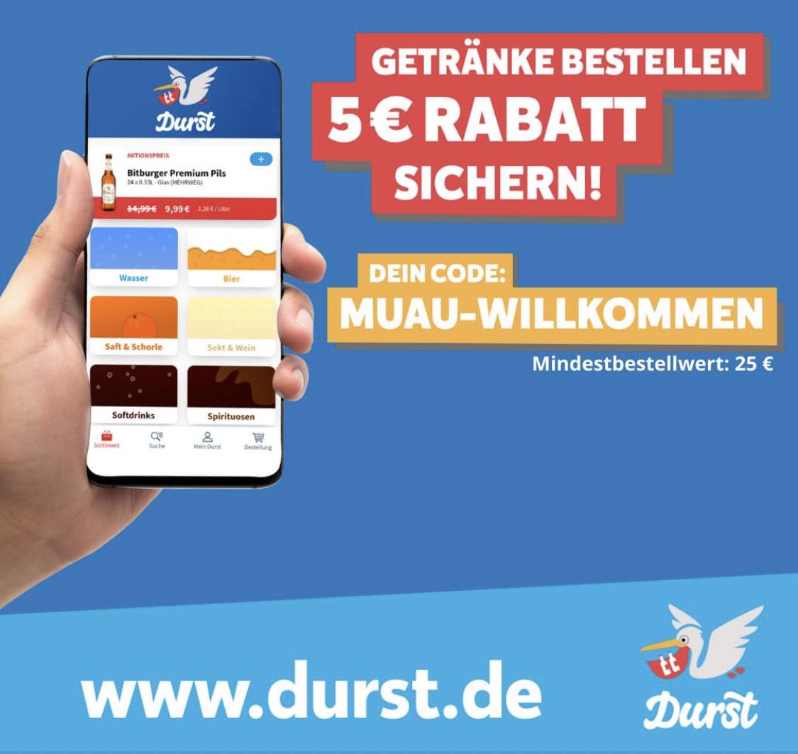 5 € Rabatt auf Getränke bei Durst.de [Lokal München] ab 25€
