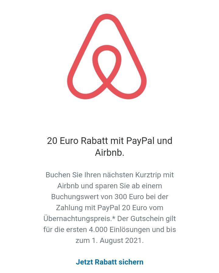 *Personalisiert* 20 Euro PayPal & Airbnb Urlaubs-Rabatt (Buchungswert 300€)