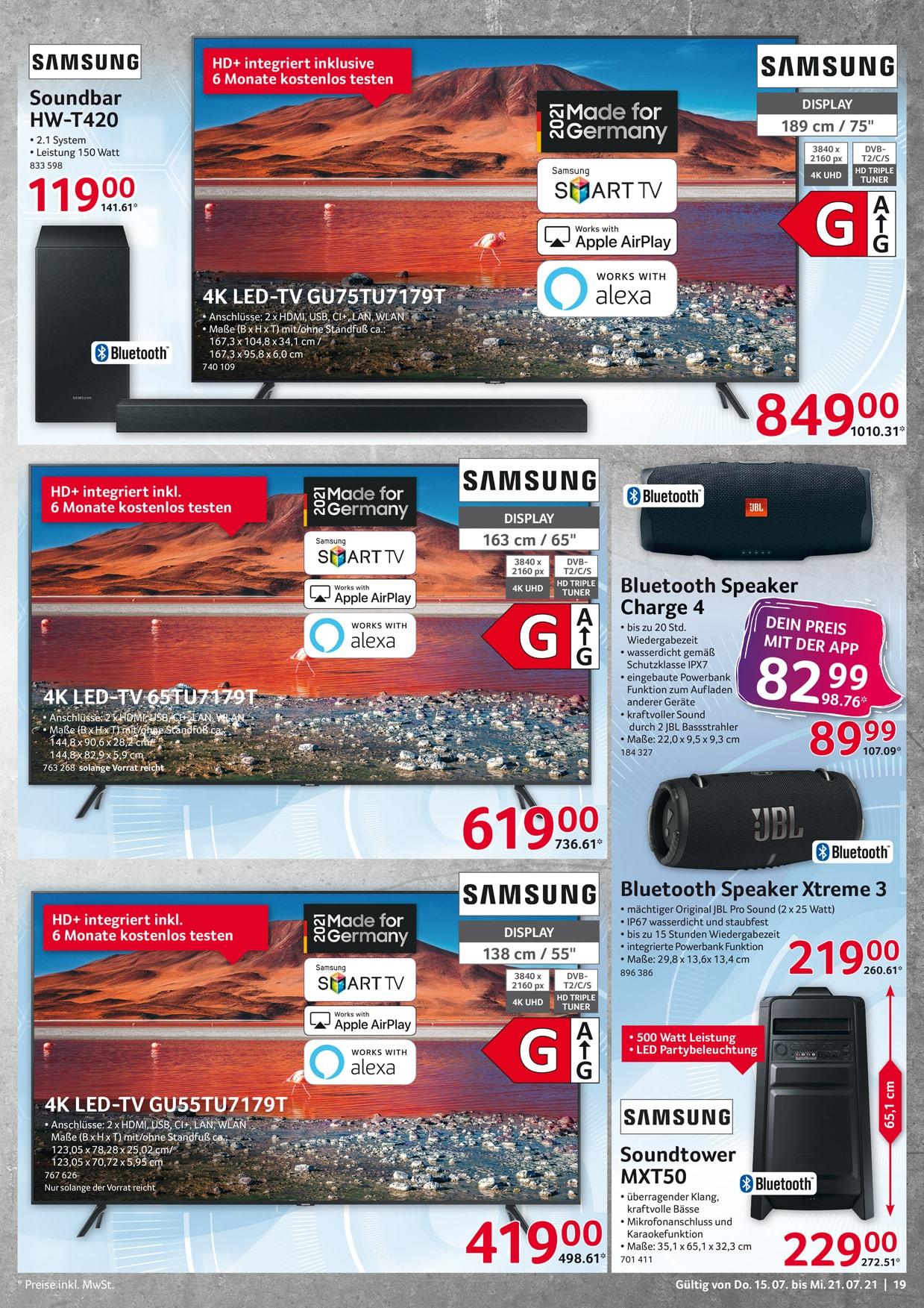 Selgros, JBL Charge 4 schwarz, Bluetooth Lautsprecher, Auslaufmodel [Deutschlandweit]
