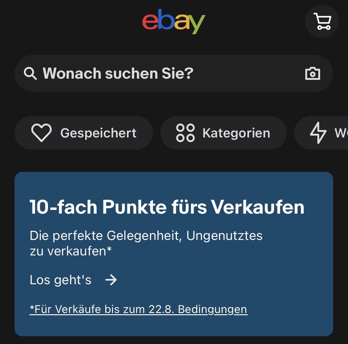 10-fach Punkte für Ebay Plus bei Verkauf