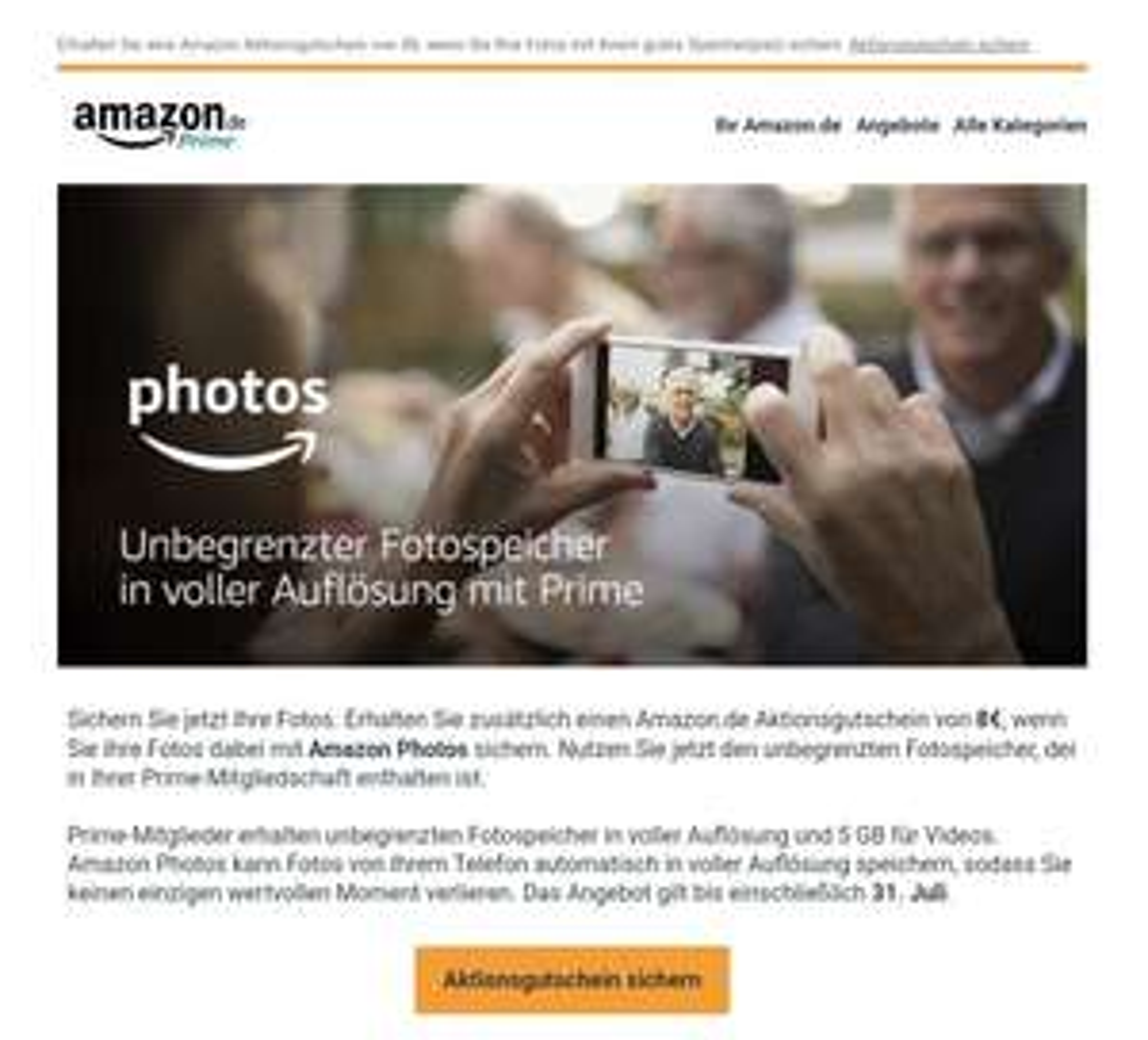 8€ Gutschein bei Amazon.de (25€ MBW) bei Amazon Photos Anmeldung (eingeladenen Prime-Member)