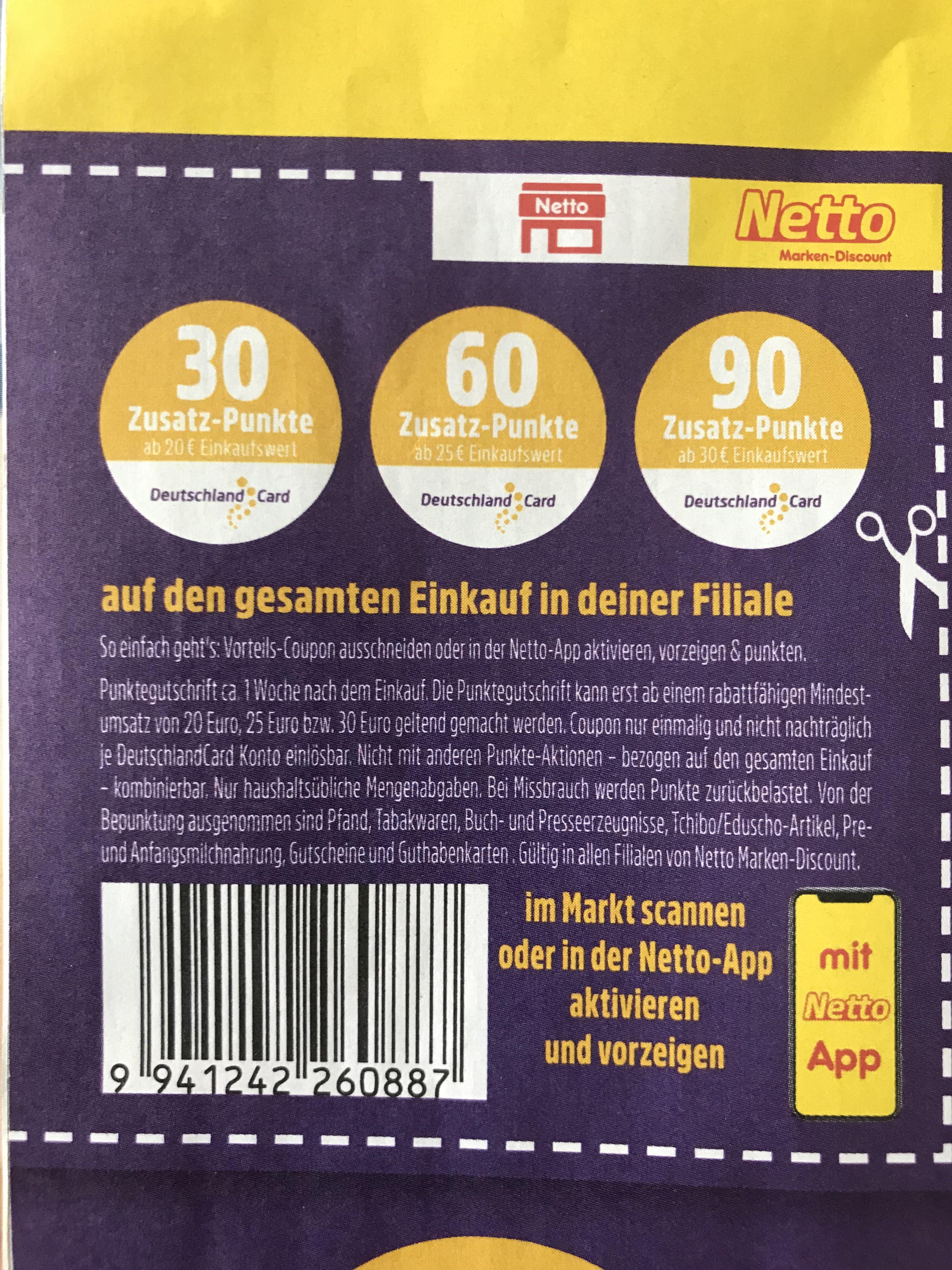 NETTO 30-90 Zusatzpunkte auf DeutschlandCard