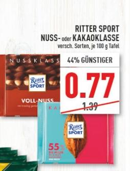 [Regional Edeka/Marktkauf Rhein Ruhr ab 26.07] Ritter Sport Nuss,- Kakaoklasse je Tafel für 0,77€