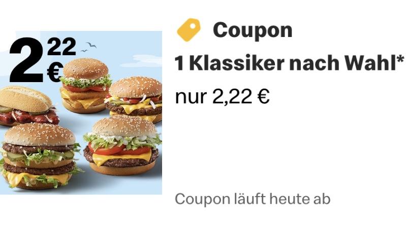 McDonald's 1 Klassiker für 2,22 (Big Mac, Hamburger Royal TS, Hamburger Royal Käse, McRib, Double Fish TS)