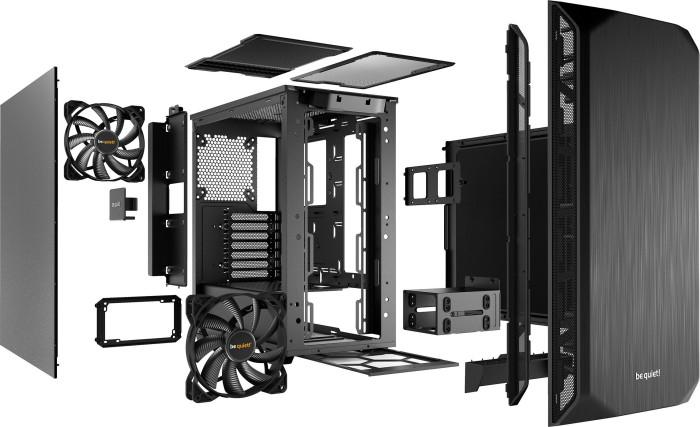 be quiet! Pure Base 500 PC-Gehäuse in schwarz (Kabelmanagement, Staubfilter, schallgedämmt, 2x Pure Wings 2 140mm)