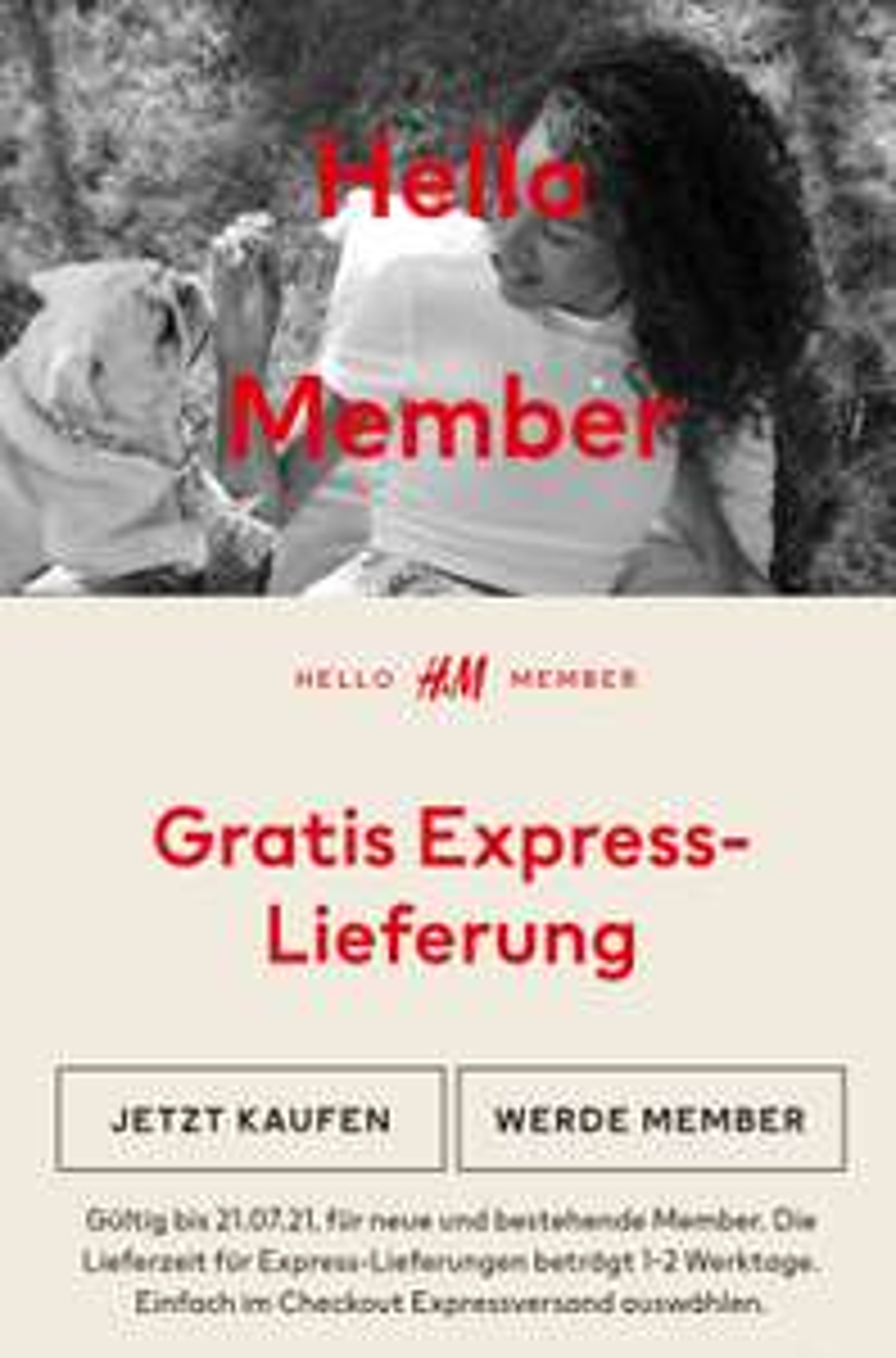 Gratis Express-Lieferung ohne MBW für Member [H&M]