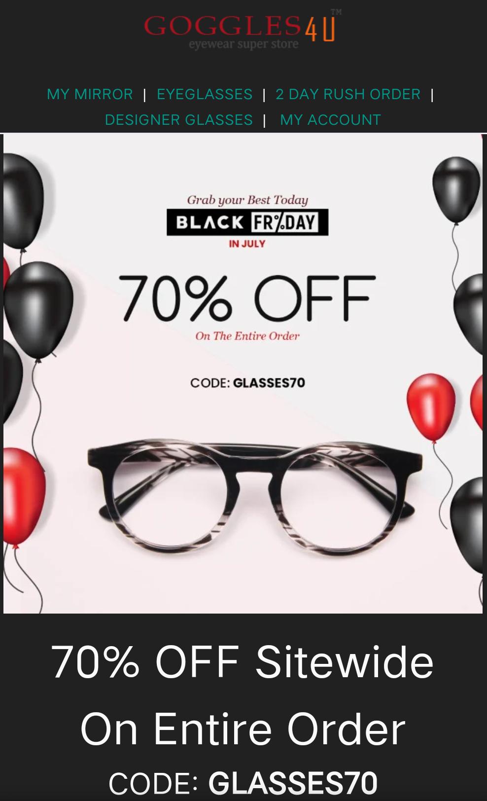 [goggles4u] 70% auf alle Bestellungen ab 12.95$ Brillen & Sonnenbrillen