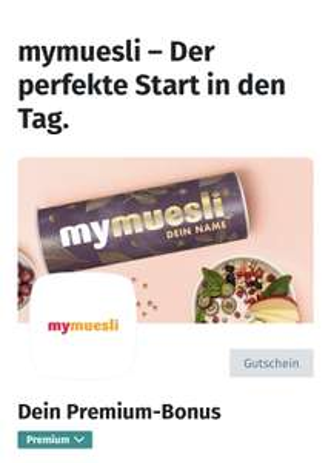 Jeden Monat 11€ Gutschein für MyMüsli als XING Premium Kunde (MBW: 8€)