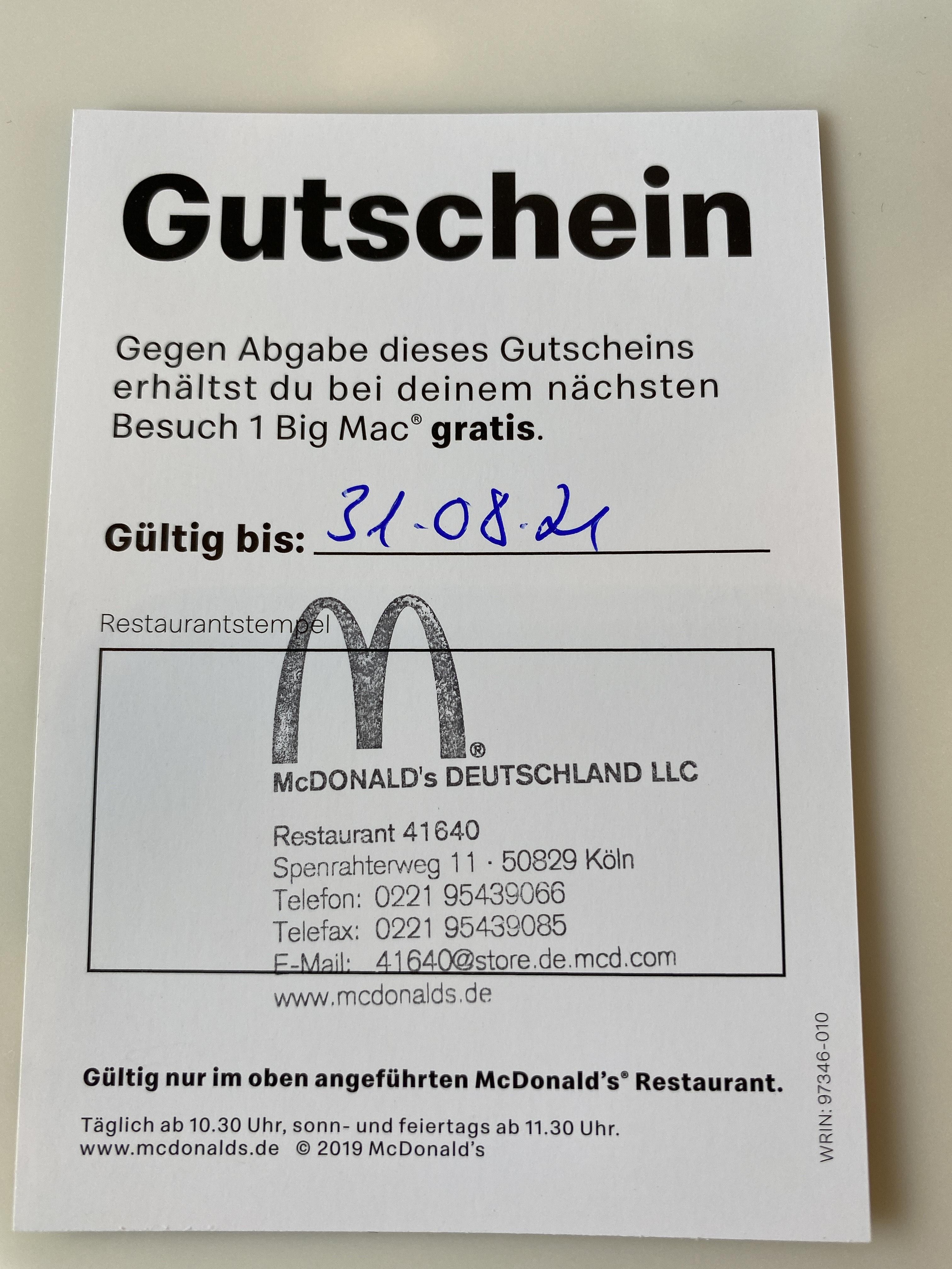 [Lokal](Köln McDonald's) kostenloser Big Mac, 6er Nuggets oder kleine Pommes für Umfrage