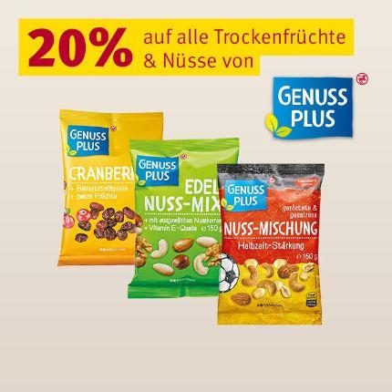 20% auf alle Nüsse und Trockenfrüchte von Genuss Plus (kombinierbar mit 10% App-Coupon) [Rossmann]