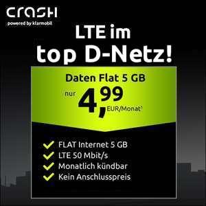[Monatlich kündbar + 0€ AG] 5GB LTE (50 Mbit/s) Crash Datentarif für mtl. 4,99€ oder 10GB LTE Datentarif für mtl. 9,99€ (Vodafone-Netz)