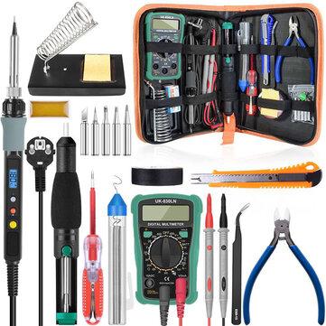 HANDSKIT Digital Multimeter Lötkolben Set 80W mit Temperaturregelung, Entlötpumpe, Schweißwerkzeug