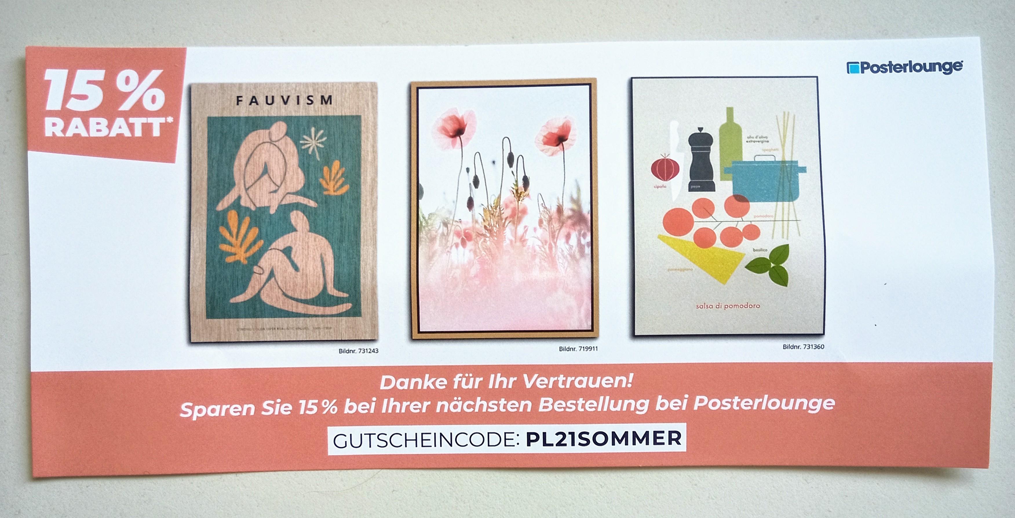15% Rabatt bei Posterlounge.de (auch Bestandskunden)