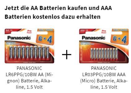 [Marktabholung Saturn] Panasonic PRO POWER 6+4 AA Batterien kaufen, 6+4 AAA Batterien geschenkt dazu
