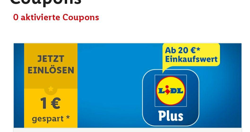 [Lidl plus] 1€ Rabatt ab 20€, 2€ ab 50€ Einkaufswert (personalisiert) u.a. Coupons