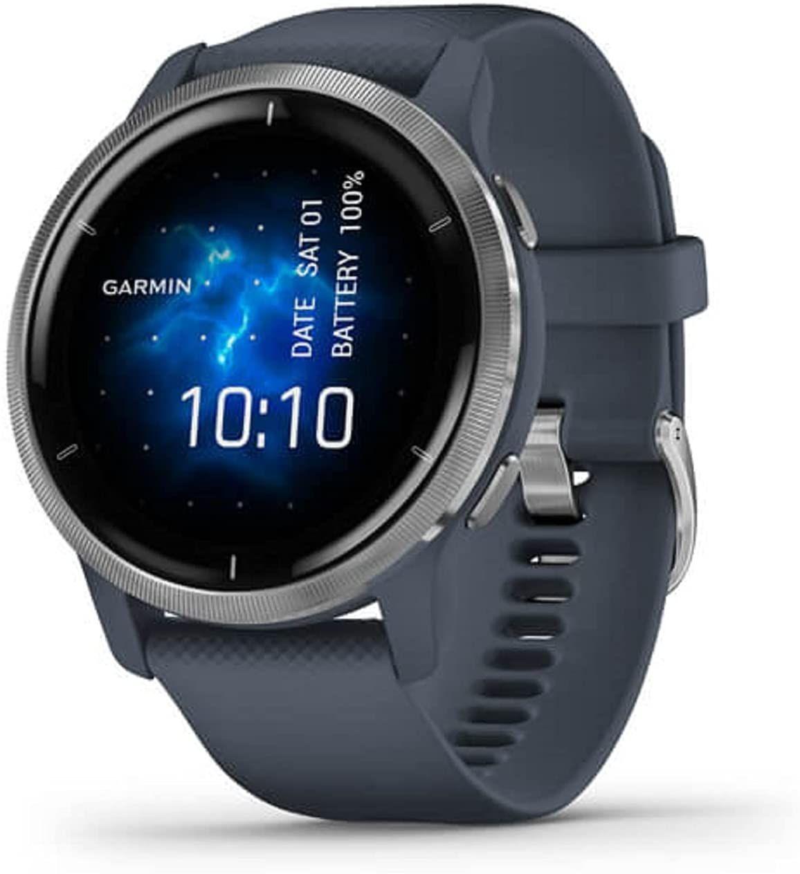 "Garmin Venu 2 Fitness-Smartwatch 1,3"" AMOLED (GPS, NFC, Bluetooth, WiFi, SpO2, wasserdicht, Garmin Pay, Musikspeicher)"