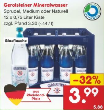 Gerolsteiner Sprudel in Glasflaschen bei [Netto MD regional]